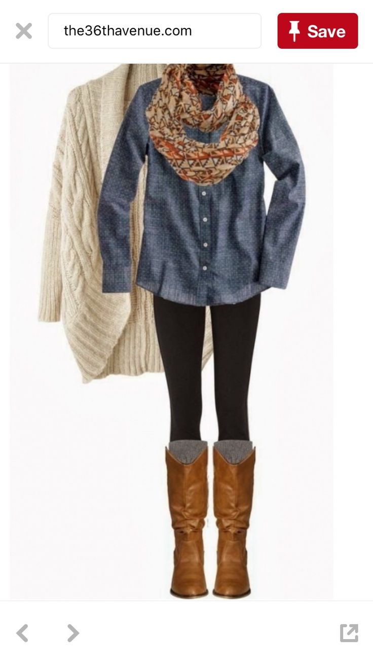 Cream, chambray, blk leggings, brown boots