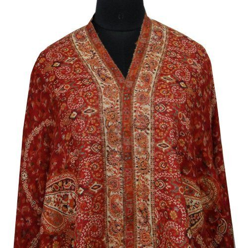 """Ibaexports Elegant Red Kani Shawl Kashmiri Pashmina Lady Stole Wrap India 80"""" X 40"""" Inches IBA. $130.99"""