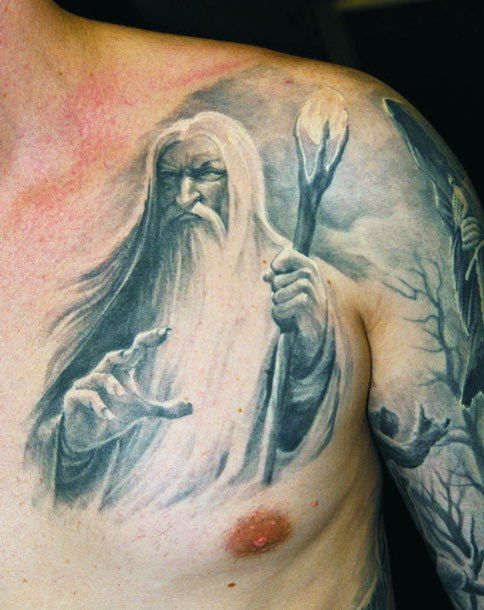 183 best images about tattoos of faces people on pinterest for Wizard tattoo designs