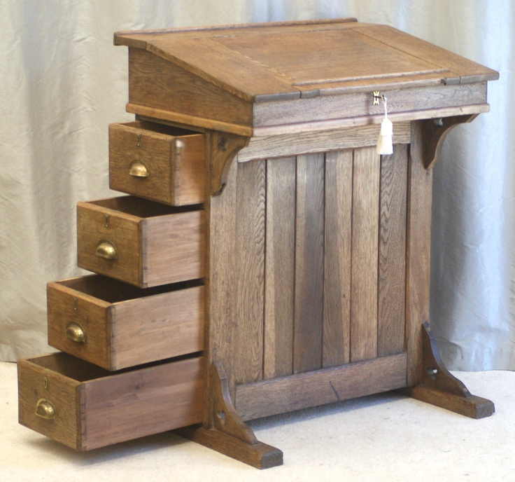 Antique Oak Clerks Desk Or Lectern Drawers To One Side