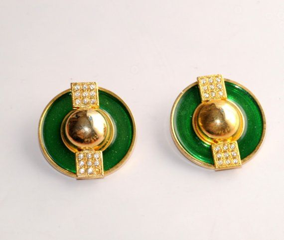 stunning pair  of vintage enamel  and rhinestone by Elefanteblanco