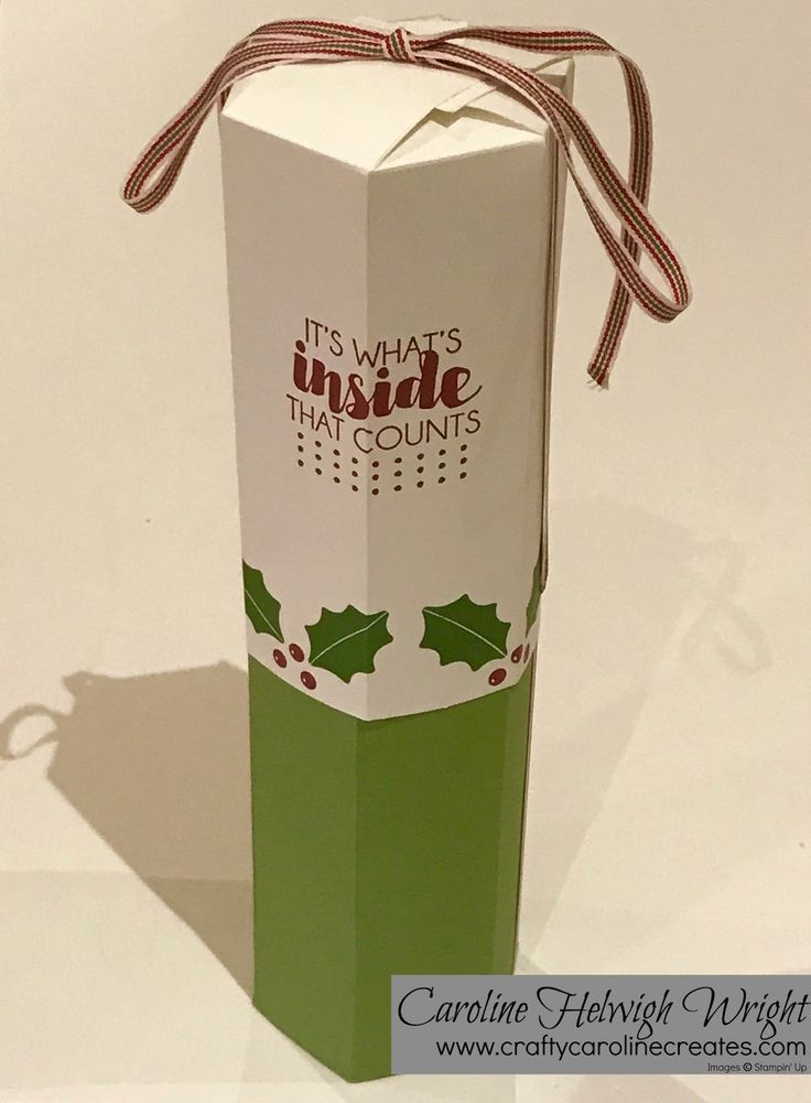 Full Size Wine Bottle Gift Box - Video Tutorial with Trim Your Stockings by Stampin' Up