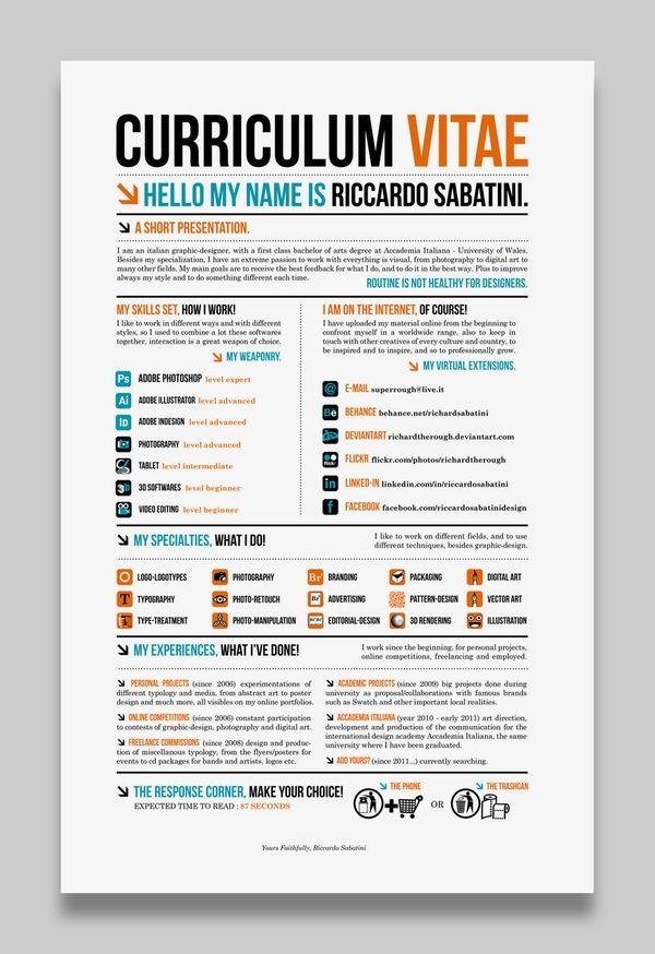25 melhores imagens de Creative CV\/Resume no Pinterest Currículo - what is a cv resume examples