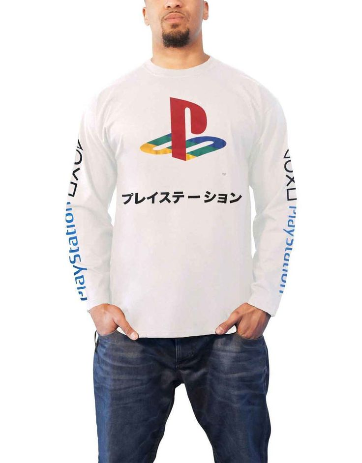 Playstation T Shirt Japanese Coloured Logo Mens White Long Sleeve - Paradiso Clothing