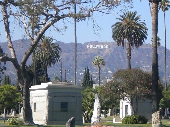 Hollywood sign from Hollywood Forever Cemetery