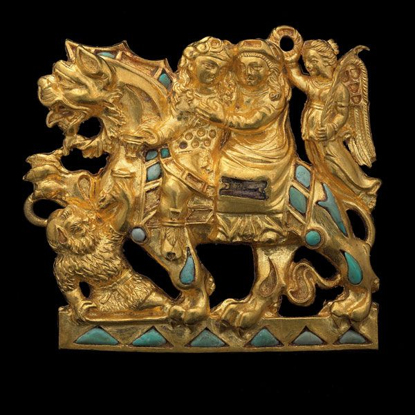 Pair of clasps depicting Dionysos the Greek god of wine making and Ariadne the     bride of Dionysos from Tillya Tepe, Tomb VI. 1st century BC-1st century AD     made from gold and turquoise.