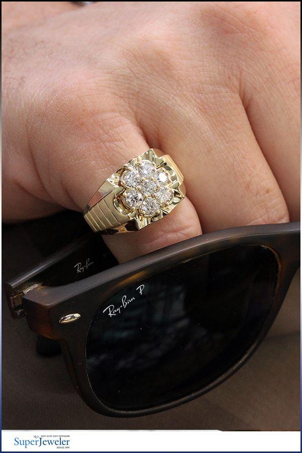 Men S 1 3 4 Carat Diamond Ring In 10k Yellow Gold In 2020 Men Diamond Ring Mens Diamond Earrings Rings For Men