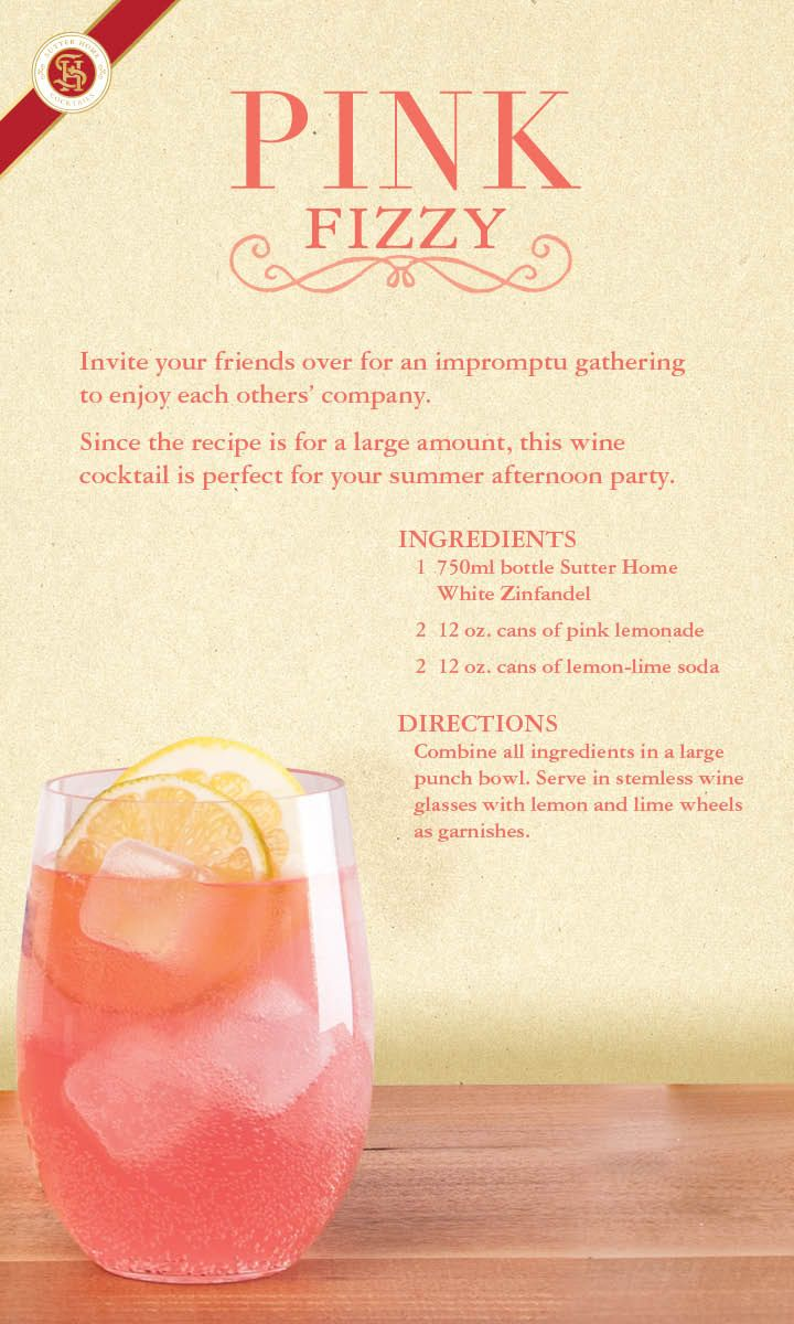 Gathering with a group? Mix up a pitcher of lemonade-flavored Pink Fizzy wine cocktail, made with Sutter Home White Zinfandel, the #OriginalWhiteZin.