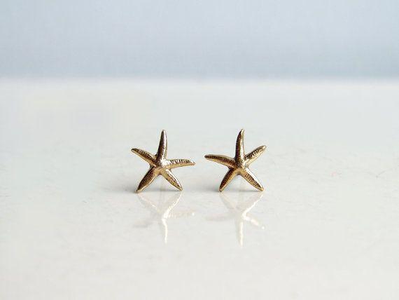 Teeny Tiny Starfish Earrings. Brass Starfish Stud Earrings. Nautical Jewelry. Simple Modern Jewelry on Etsy, $15.00