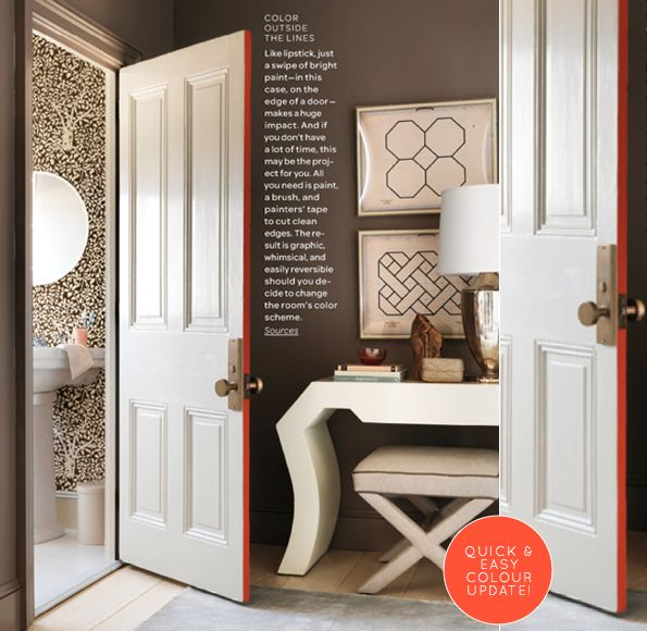 quick & easy decorating idea: paint the edge of your doors a bright color! via Bright BazaarDecor, Ideas, Interiors Doors, The Doors, Doors Edging, The Edging, Painting Doors, House, Bright Colors