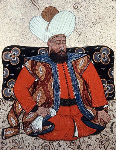Sultan Beyazid I,  1389-1402, portrait from nineteenth century manuscript no…
