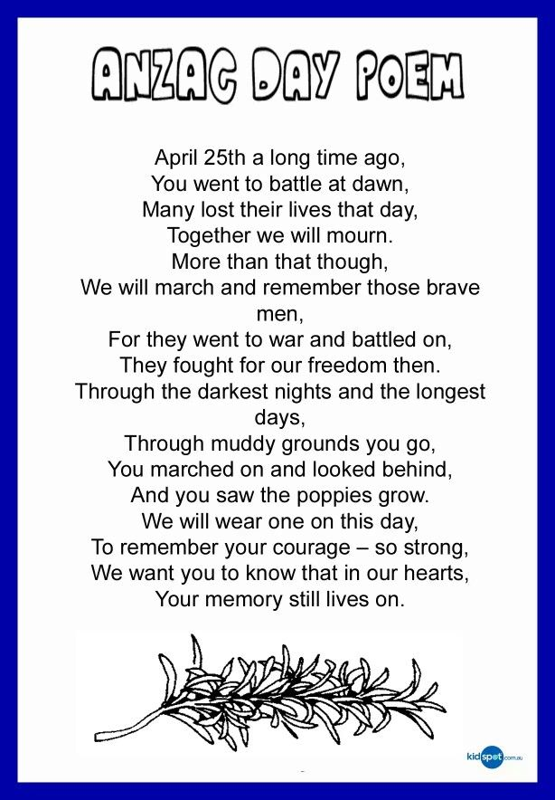 A great poem to allow students to understand the meaning of Anzac Day. Could be used as a whole class recital.