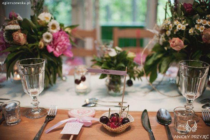 1. Cherry Wedding,Centerpiece,Cherry place card / Czereśniowe wesele,Dekoracje stołu   Czereśniowa winietka,Anioły Przyjęć