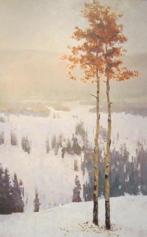 aspens in winter ~ oil ~ by steven lee