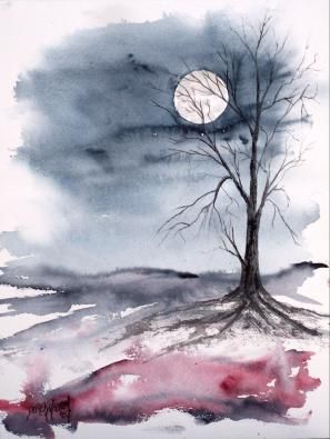 """""""Moon Light"""" Gothic dark surreal modern landscape watercolor painting"""