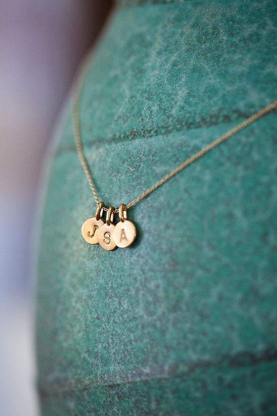 THREE Charms TIny Initial Necklace in 14k Gold Vermeil by annekiel, $120.00