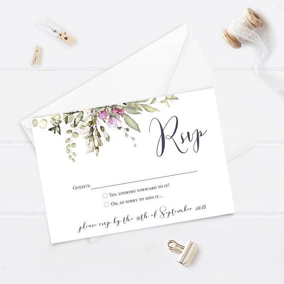 Printable Wedding RSVP  Reply Card  Spring Wedding  Floral