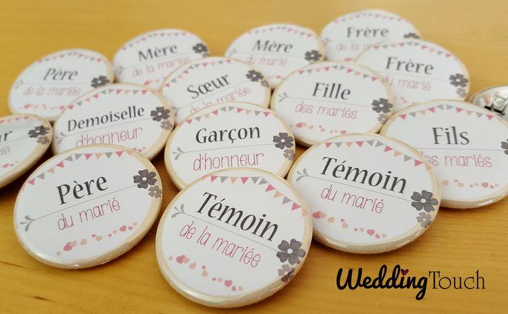 Badges mariage vintage, champêtre, fanions, dentelle pour témoins et toute la famille ©weddingtouch tons rose pastel, gris, beige, nature