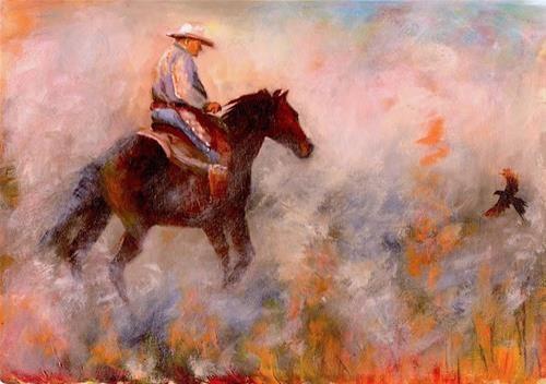 "Daily Paintworks - ""Burning the Stubble"" - Original Fine Art for Sale - © Karen Robinson"