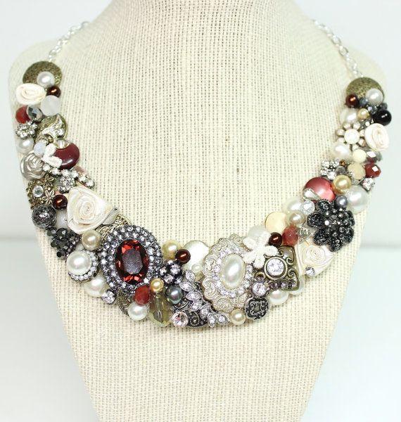 Bridal Bib Necklace Mahogany Gold Charcoal by BrassBoheme on Etsy, $140.00