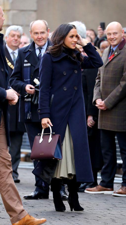 "Ms. Meghan Markle.. Mackage Elodie Double Breasted Military Coat, Wolford Portland Turtleneck, Joseph Laurel Full Midi Skirt, Kurt Geiger ""Violet"" Over-the-Knee Boots, and Strathberry Midi Tote.. #MeghanMarkle #MarkleSparkle #Fiancee #Engaged #Engagement #MeghanAndHarry #PrinceHarryAndMeghanMarkle #RoyalEngagement #Royalty #HarryAndMeghanEngaged #royalwedding2018"