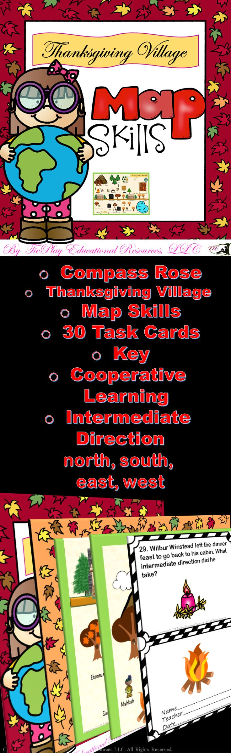 Price 5.00 Come hither! Thanksgiving Village Map Skills is a kid friendly way to learn or review directions of north, south, east, west, and intermediate. This map skills game contains:  game board of a lovely Thanksgiving Village scene compass rose/scale directions for use 30 task cards 2 awards cards and key
