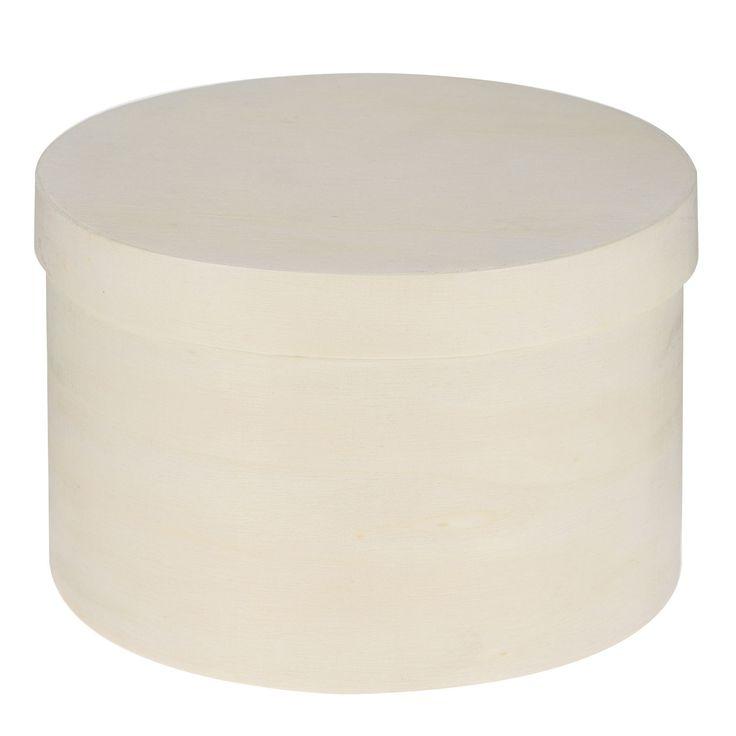 Blanco houten ronde opbergdoos met deksel. Laat je fantasie de vrije loop en versier het doosje zoals jij wilt! Afmeting: opbergdoos Ø 13,5 x 8,5 cm - Kleur je eigen Opbergdoos Hout - Rond