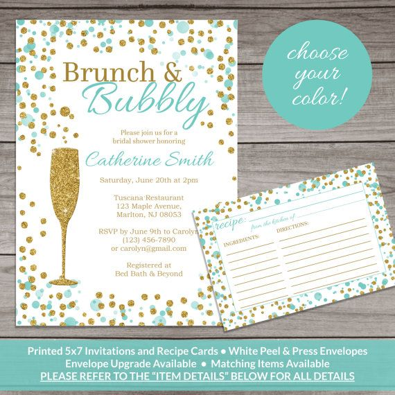 Brunch and Bubbly Bridal Shower Invitation Teal by PartyPrintery