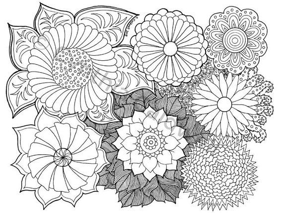Flower Doodle Coloring Pages Display
