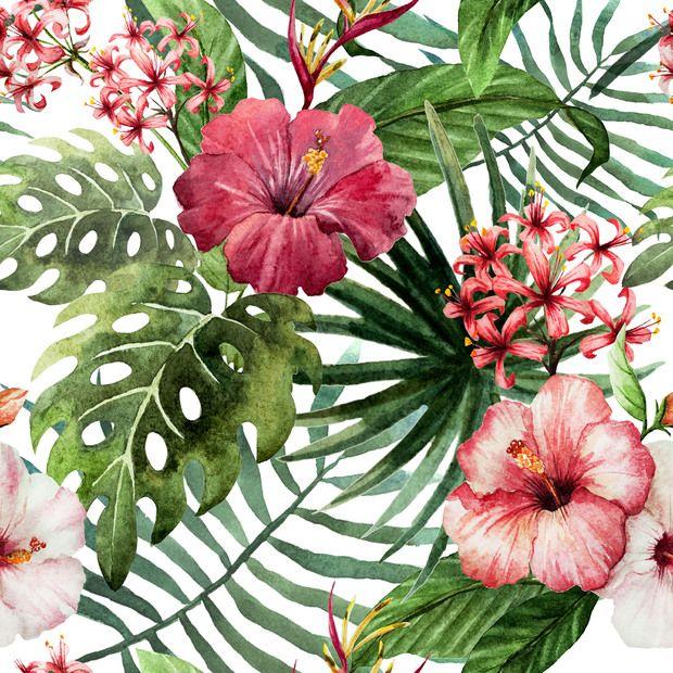 Hawaii Watercolor Pattern. Mooi ontwerp en kleuren maar de herhaling is te statisch.