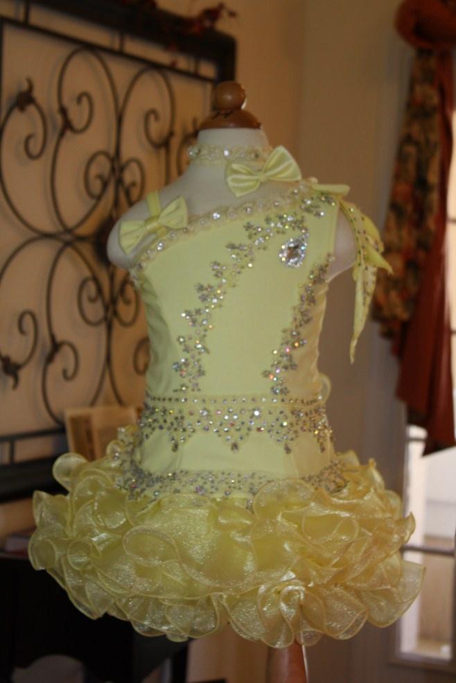Light Yellow Beauty National Pageant Dress Glitz Girls Size 3-4-5 Cupcake Skirt-Light Yellow Beauty National Pageant Dress Glitz Girls Cupcake Skirt