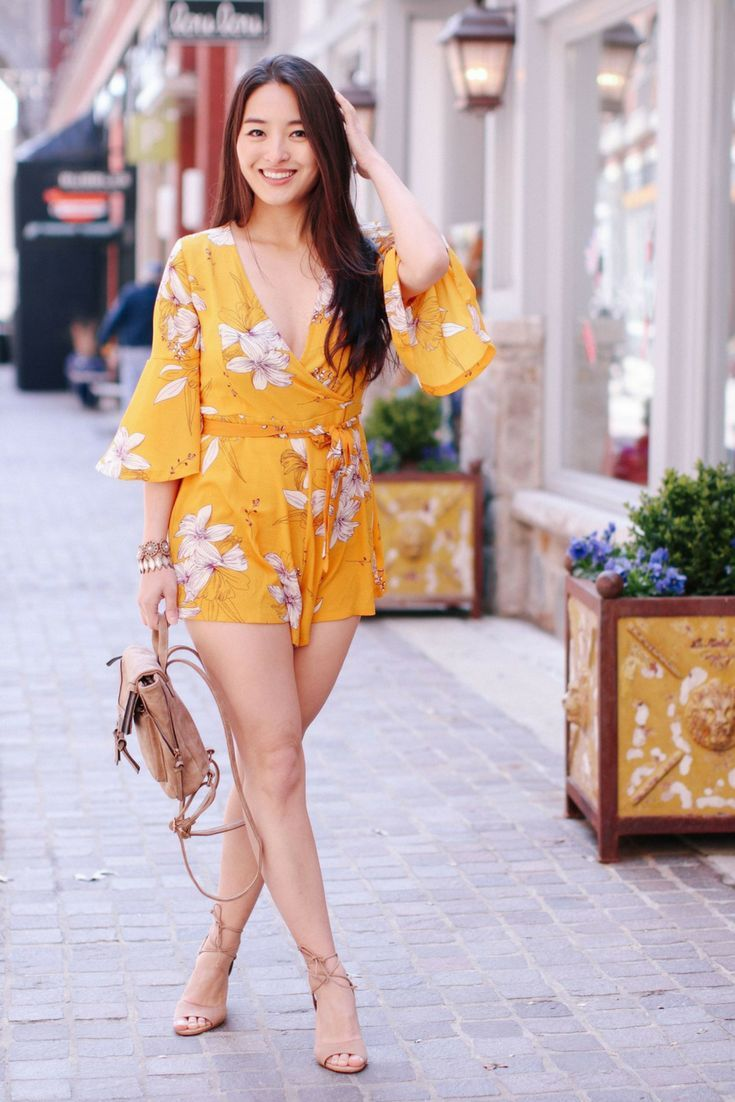 5b67f04774 Feeling Frisky In a Cute Mustard Playsuit - Sensible Stylista. Looking for  the perfect summer playsuit  Click to see more shots of this gorgeous  floral ...