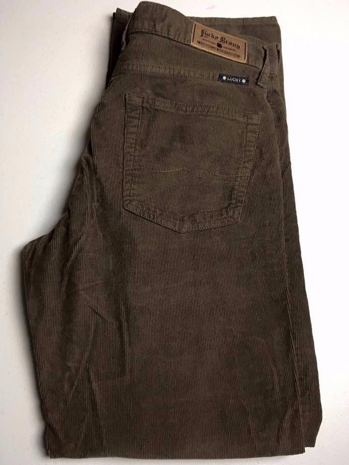 LUCKY BRAND 361 Vintage Straight Brown Corduroy Pants Men's Size 34 x 32 NICE #LuckyBrand #ClassicStraightLeg