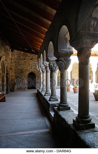 Catalan Romanesque architecture, cloister of Sant Pere de Casserres is a Benedictine monastery - Stock Image