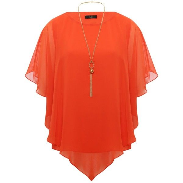 M&Co Chiffon Top With Necklace ($42) ❤ liked on Polyvore featuring tops, orange, batwing tops, orange top, red chiffon top, layered tops and red batwing top