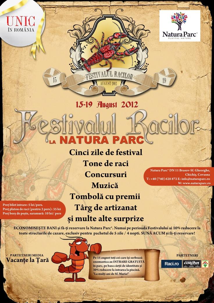 """Pentru prima data în România, Natura Parc® organizează """"Festivalul Racilor"""" 15 - 19 august"""