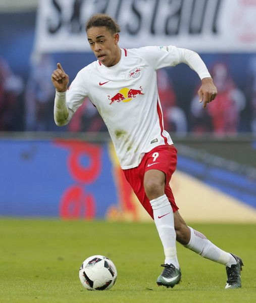 Yussuf Poulsen of RB runs with the ball during the Bundesliga match between RB Leipzig and TSG 1899 Hoffenheim at Red Bull Arena on January 28, 2017 in Leipzig, Germany.