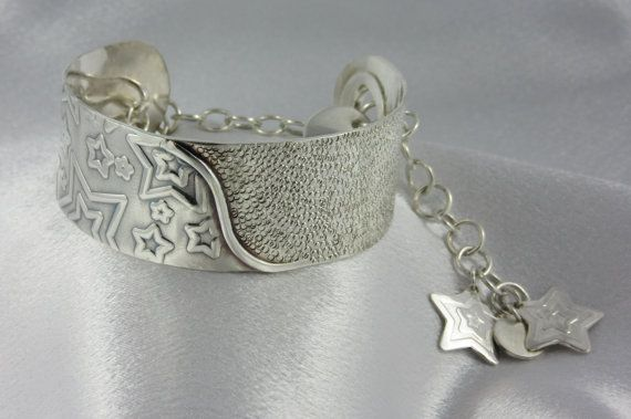 Falling Stars Argentium Sterling Silver Cuff Bracelet Unique Design Cuff Bangle Bracelet with Safety Chain and Charms Charm Dangles on Etsy, $258.44 CAD
