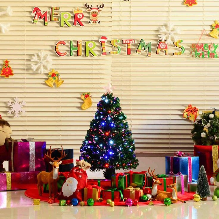 3Ft Led Green Fibre Optic Artificial Christmas Tree Multi ...