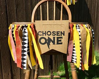 Harry Potter inspired Chosen One First Birthday High Chair Banner - Happy Birthday Decorations-Gryffindor- Burgundy and Yellow-  Party Decor