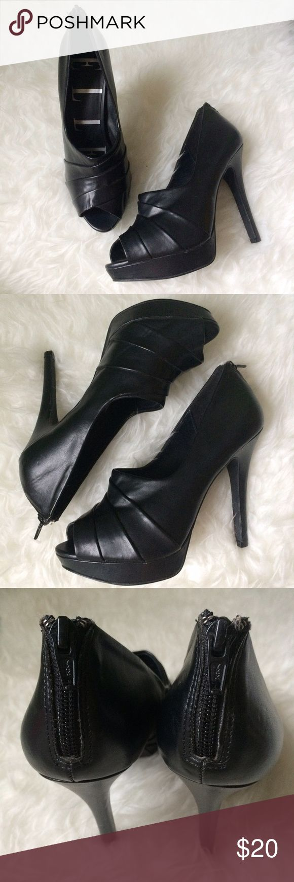 ✨NEW Listing✨Elle Genevie peep toe platform heels Elle Genevie black peep toe platform heels with zippered backs. Pretty great shape, has a long scratch of the back of left heel, seen in last photo. Another pair of platforms that haven't left the house. Size 8.5. Manmade materials. Not interested in trades. **heel & platform measurements coming soon** Elle Shoes Heels