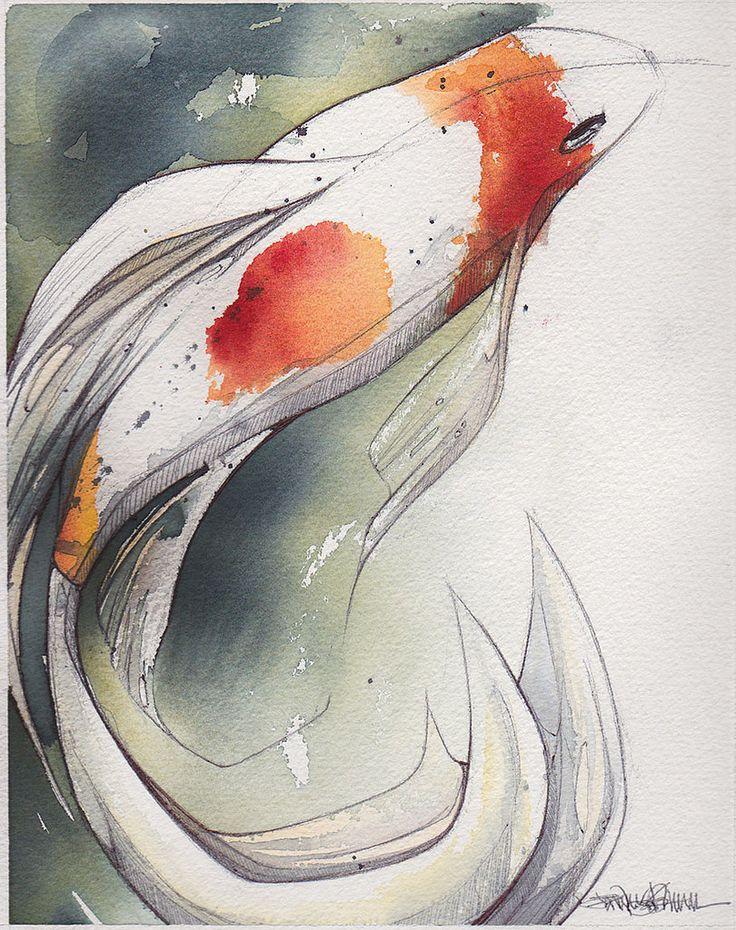 японские рыбки кои рисунок путешествий