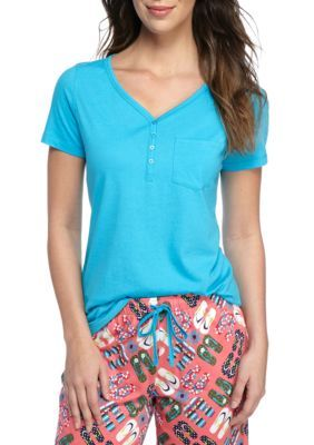 New Directions Paris Turquoise Short Sleeve Henley Tee