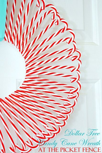Make this cute Candy Cane Wreath from Dollar Tree candy canes and styrofoam wreath form!