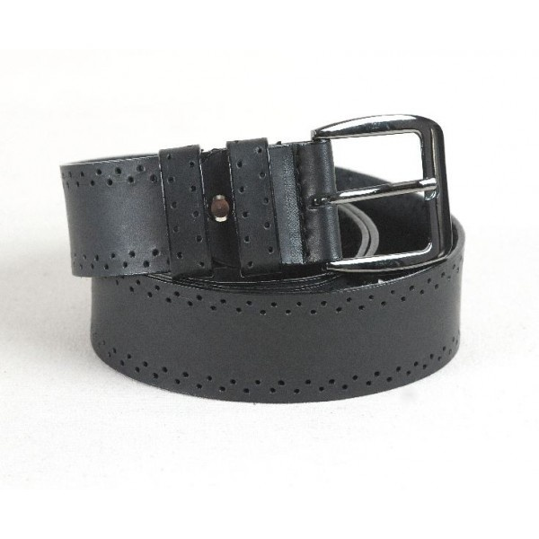 Leather belt decorated with two rows of perforations, 40 mm width.