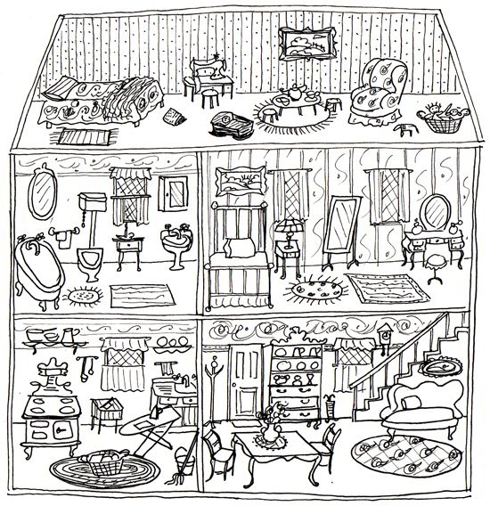 Dollhouse Art And Illustration House Colouring Pages Coloring Rhpinterest: Coloring Pages Doll House At Baymontmadison.com