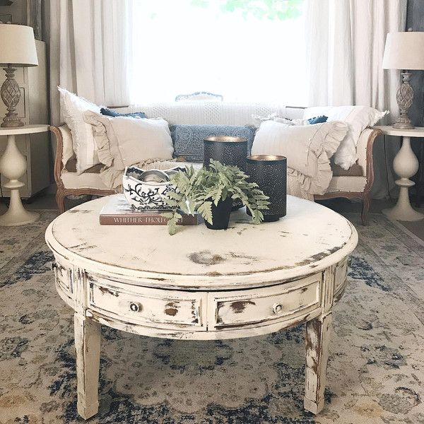 Coffee Table White Distressed Round Living Room Shabby
