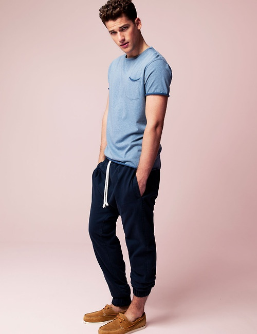 Casual Boat Shoes Sweatpants Loose T shirt Mens Summer