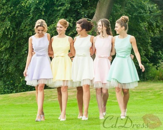 A Line Scoop Chiffon Tulle Short Pastel Bridesmaid Dress - Bridesmaid Dresses - Weddings - CDdress.uk