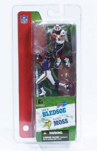 McFarlane Toys NFL 3 Inch Sports Picks Series 2 Mini Figure 2Pack Randy Moss (Minnesota Vikings) Drew Bledsoe (Buffalo Bills) by McFarlane Toys. $5.99. Randy Moss, Minnesota Vikings WR, No. 84 and Drew Bledsoe, Buffalo Bills QB, No. 11. From McFarlane Toys. Figures stands approximately 3 inches tall.. Ages 5 and up. Originally released in 2004 - Retired / Out of production. RANDY MOSS / MINNESOTA VIKINGS & DREW BLEDSOE / BUFFALO BILLS * 3 INCH * McFarlane's NFL Sp...